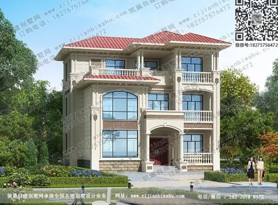 新款欧式三层别墅图纸带凉亭农村自建楼房设计图方案
