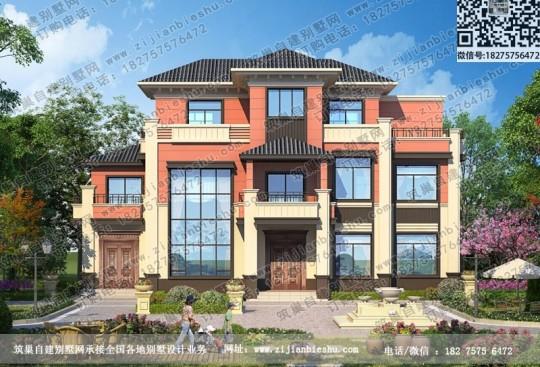 三层中式别墅住宅设计新农村自建房施工效果图新品