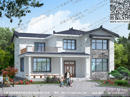 14×12米中式风格4厅5卧农村二层楼房设计图