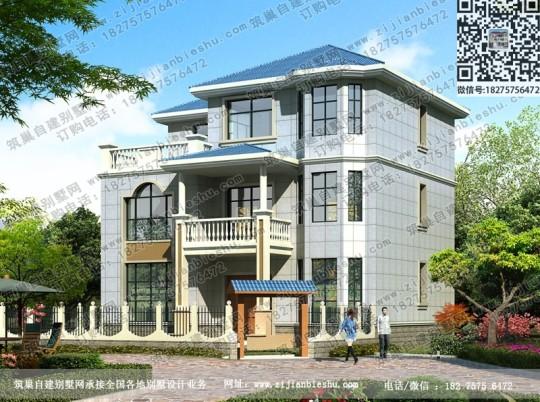 13×11米带露台10卧三层新农村自建房设计图