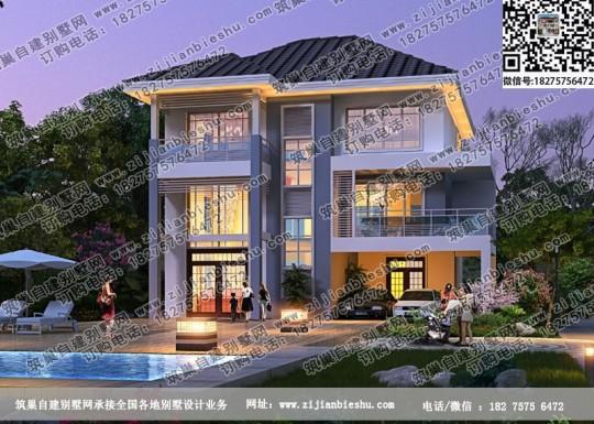 三层框架结构现代风格自建房屋设计平面图
