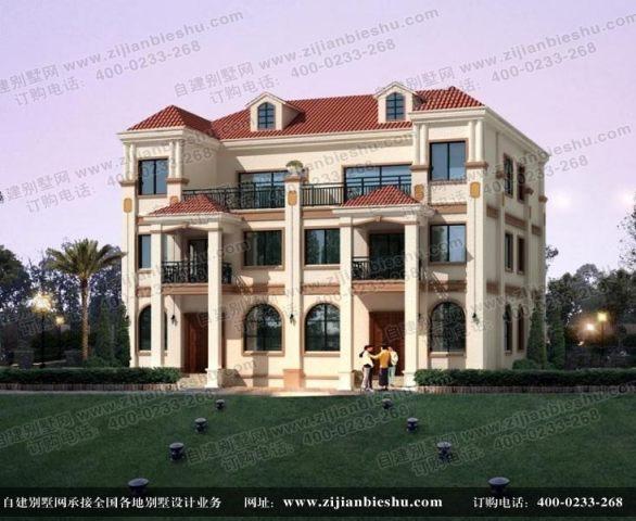 简洁大方的农村三层两户双联别墅设计图