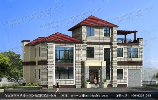 四川地区两层半L型户型别墅设计图