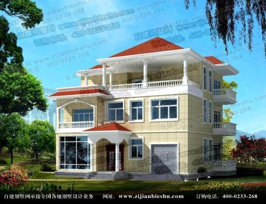 阳台多的三层新农村房屋设计图