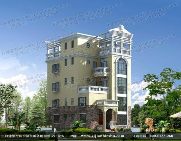 四层半框架结构别墅内设旋转楼梯设计图纸