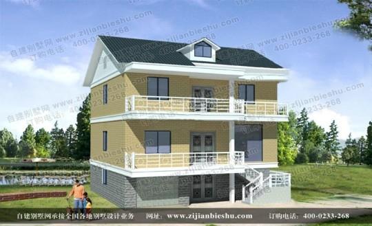 经典新农村三层带阁楼别墅设计图纸