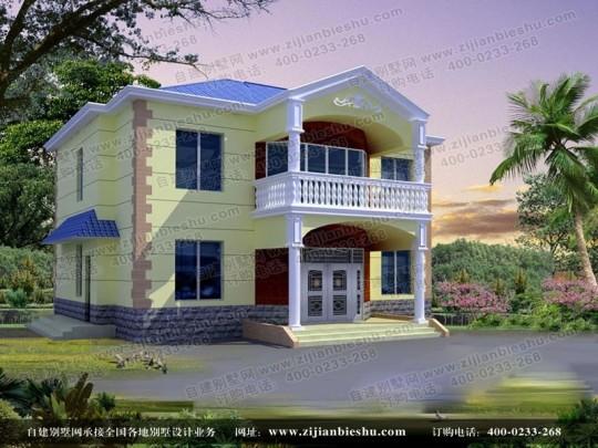欧式经典两层别墅带露台设计图纸