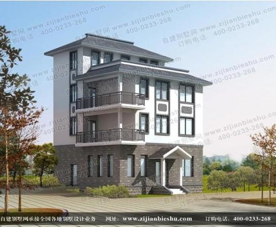 四层砖混结构带露台农居房设计图纸