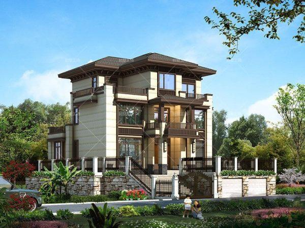 三层新中式庭院别墅设计图