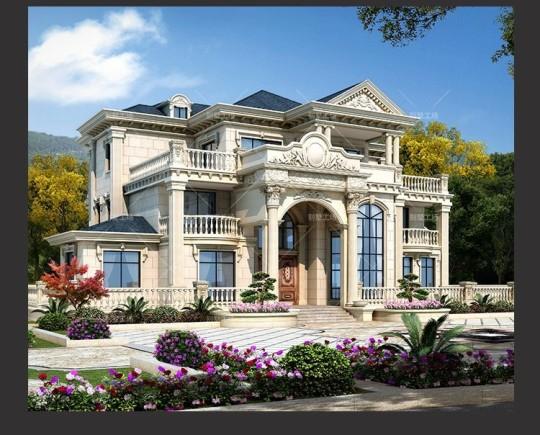 三层豪华大气欧式别墅设计平面图