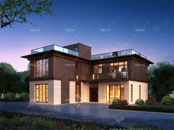 农村两层七字形高端别墅效果图设计