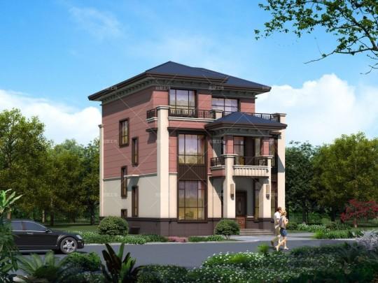 三层新中式别墅外观效果图设计