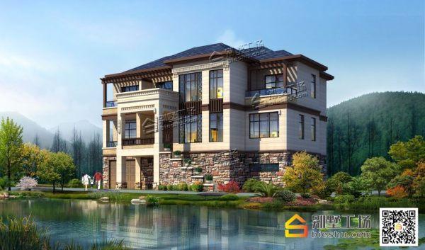 新中式三层带车库乡村豪华别墅设计图纸