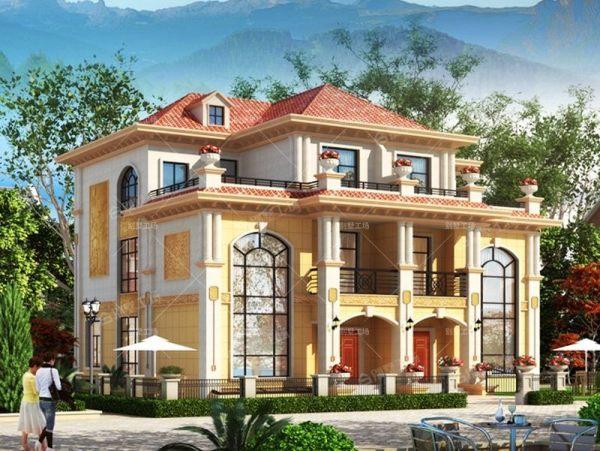 农村三层兄弟双拼欧式风格别墅设计