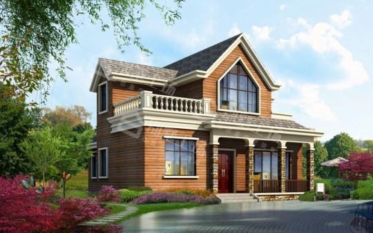 简约欧式乡村二层带阁楼别墅设计图