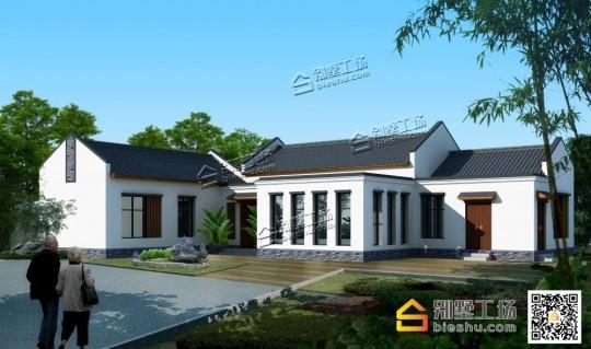新农村一层中式风格别墅设计施工图纸