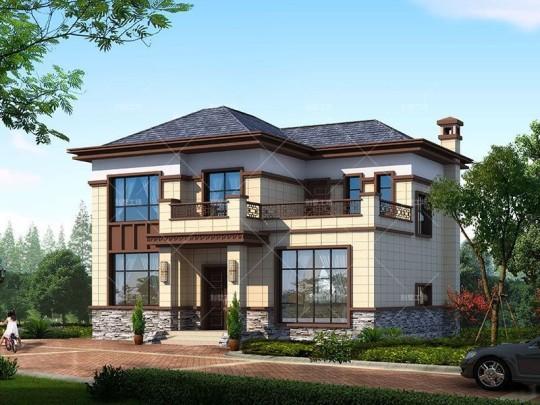 农村二层新中式小别墅设计效果图