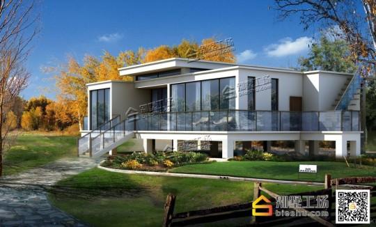全套一层现代风格乡村别墅设计图纸