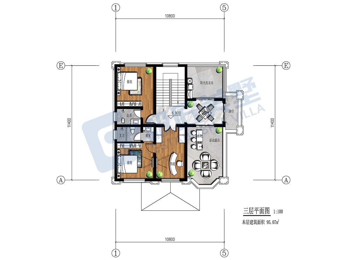 田园三层别墅设计图施工图
