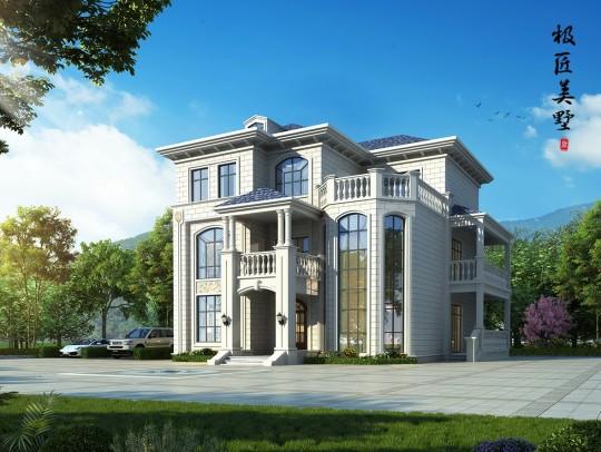 新农村三层欧式大气实用别墅设计图纸 (带侧门)