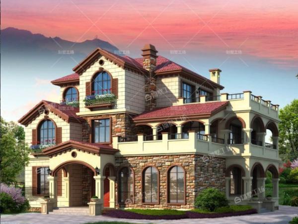 三层托斯卡纳乡村独栋别墅设计图