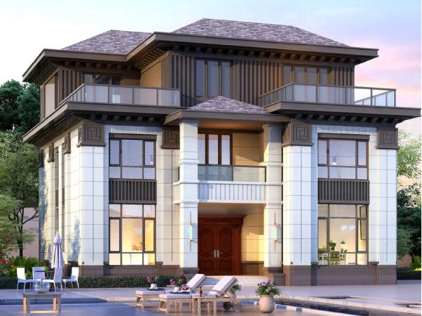 新中式三层带堂屋家庭影院乡下农村自建房别墅设计图纸