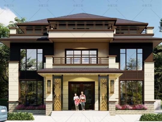 新中式三层带柴火房健身房乡下农村自建房别墅设计图纸
