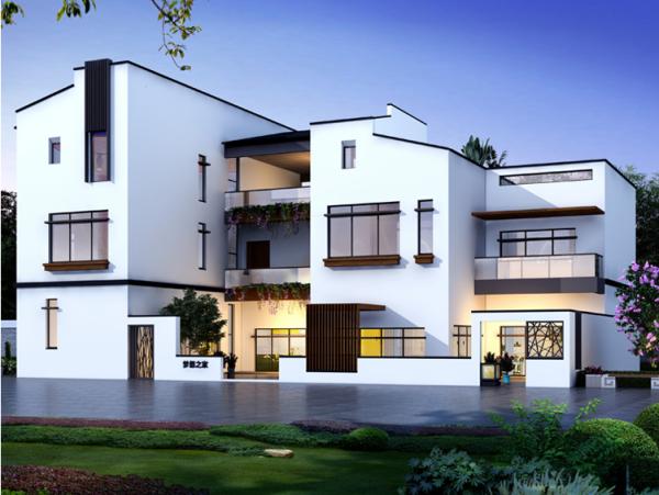现代中式三层三合院全套乡下农村自建房别墅设计图纸