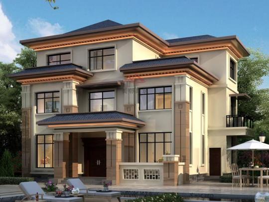 新中式三层带健身房全套乡下农村自建房别墅设计图纸