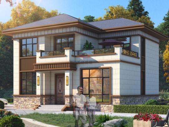 新中式二层带堂屋乡下农村自建房别墅设计图纸