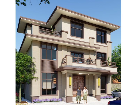 简约新中式带堂屋乡下农村自建房别墅设计图纸