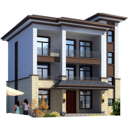 简约新中式三层平顶乡下农村自建房别墅设计图纸