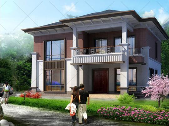 中西混搭新中式海派二层乡下农村自建房别墅设计图纸