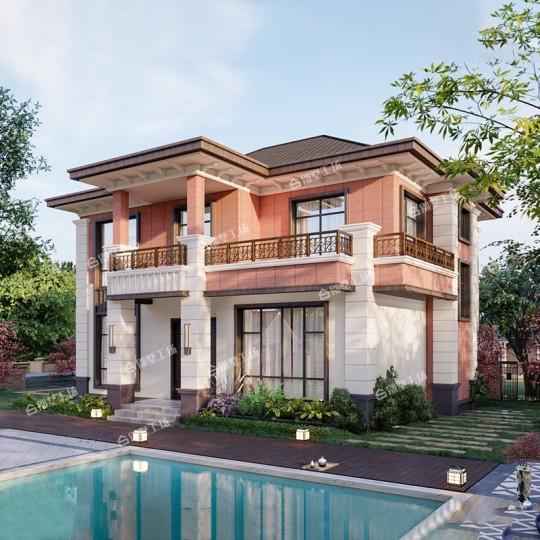 占地12X12新款现代风格新中式农村别墅,造价61W