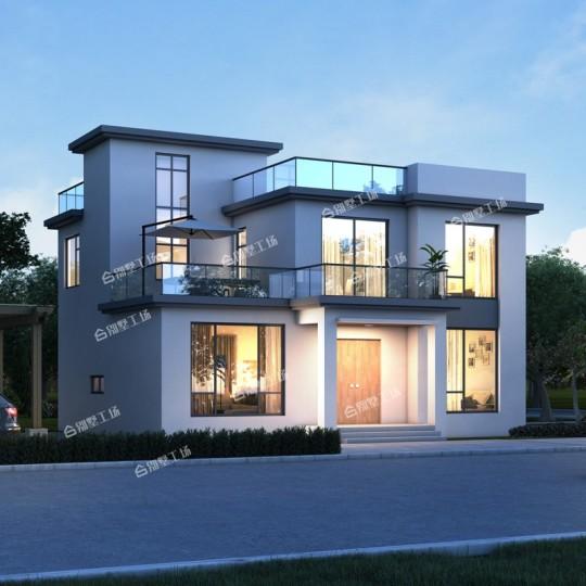 占地11X10二层现代平顶别墅设计图纸