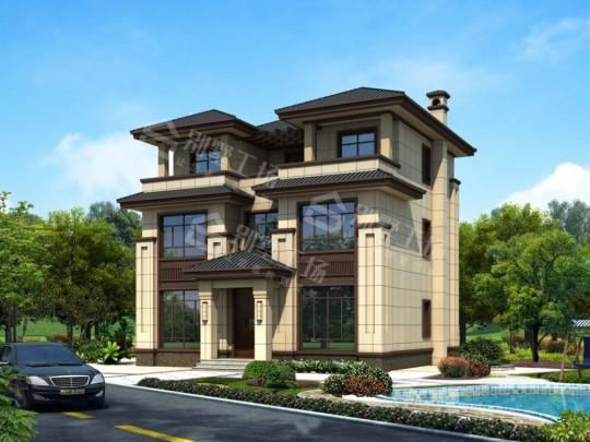 占地11X12三层新中式超大器农村自建别墅设计图纸