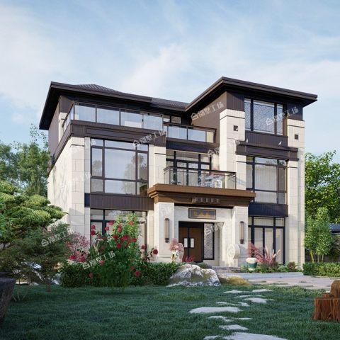 占地13X11中式别墅自建房新农村豪华三层建筑