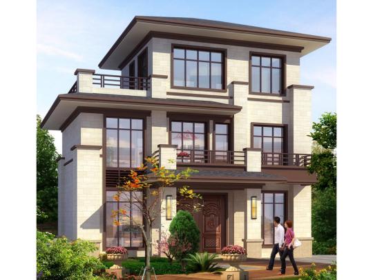 新中式三层小户型带电梯乡下农村自建房别墅设计图纸