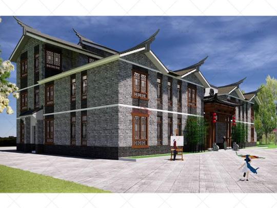 中式三层带祖屋天井乡下农村自建房别墅设计图纸