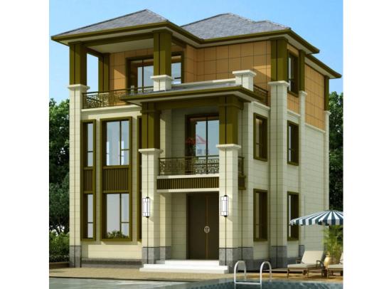 新中式三层两间带开水房乡下农村自建房别墅设计图纸