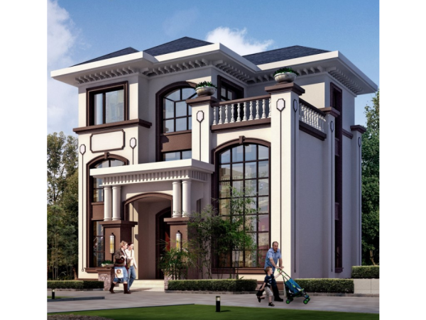 新中式三层带堂屋健身房乡下农村自建房别墅设计图纸