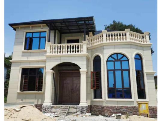 占地11×12欧式二层乡村别墅,凸窗+露台,造型亮眼!