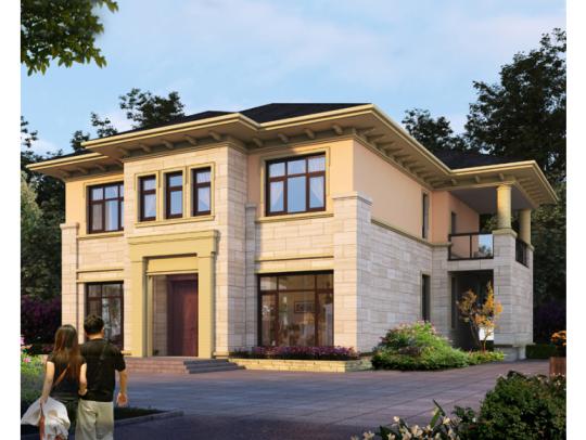 现代简约中式二层经济实用乡下农村自建房别墅设计图纸