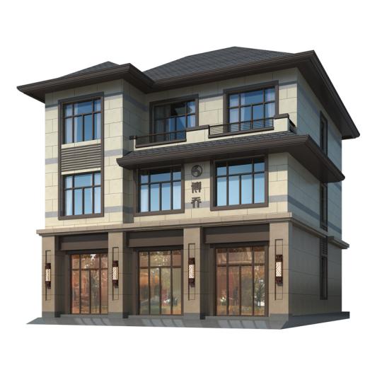 临街商铺型三层别墅自建房全套设计图纸