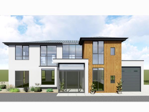 现代风格二层带车库和堂屋乡下农村自建房别墅设计图纸