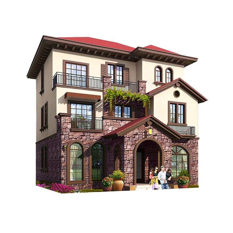 西班牙欧式风格三层乡村别墅全套设计图纸