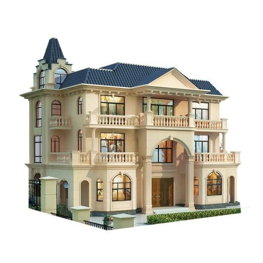 欧式城堡风格三层乡村别墅-全套设计图纸