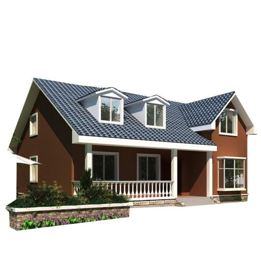 美式一层半带阁楼养老乡下农村自建房别墅设计图纸
