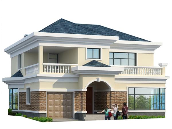 欧式二层带车库新式乡下农村自建房别墅设计图纸