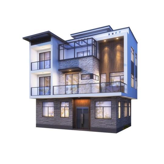 三层现代时尚简约风格别墅-全套设计图纸